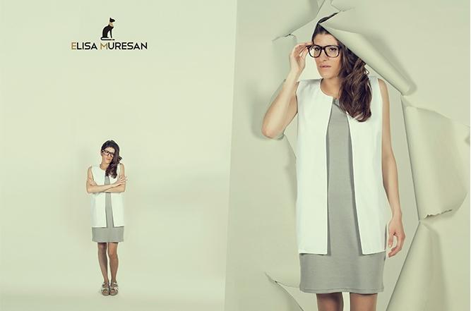 Vestido básico y chaleco algocón orgánico   Elisa Muresan