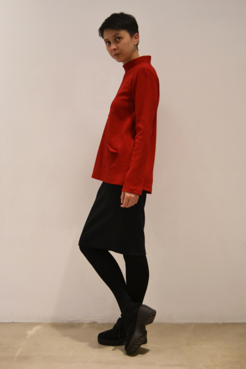 jersey-rojo-lateral | Elisa Muresan ropa ecológica