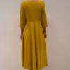 vestido-mostaza-espalda | Elisa Muresan ropa ecológica