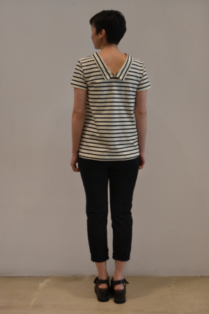 camiseta-raya-BN-detras | Elisa Muresan moda sostenible