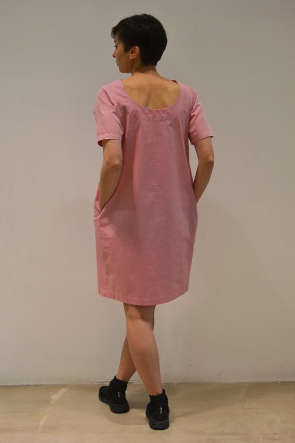 vestido-globo-rosa-espalda | Elisa Muresan moda sostenible