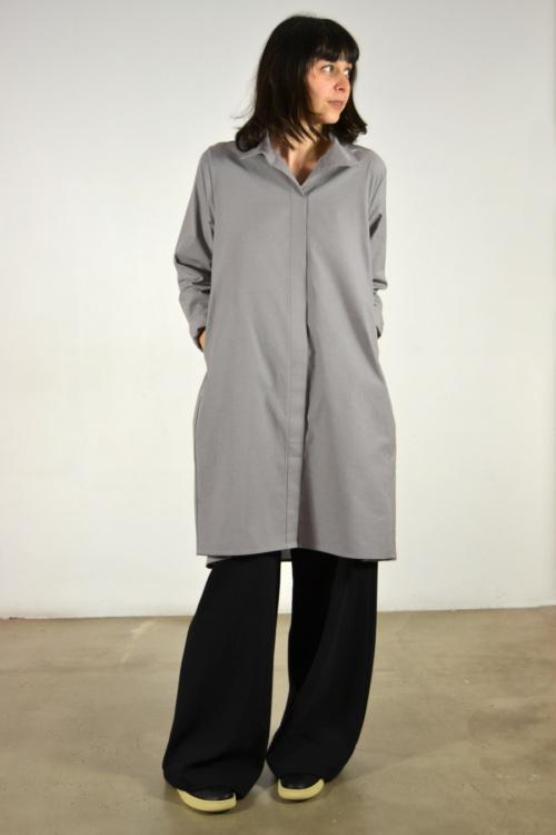 Vestido-camisero-gris | Elisa Muresan moda sostenible